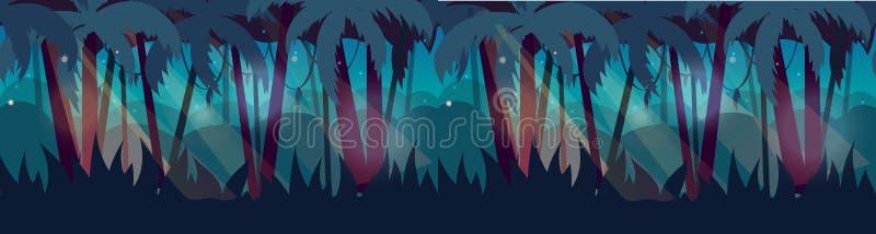 Panorama com paisagem da floresta úmida da selva Ilustração do vetor para sua água fresca de design ilustração do vetor