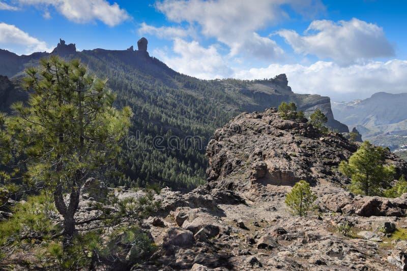 Panorama com Roque Nublo Gran Canaria fotos de stock