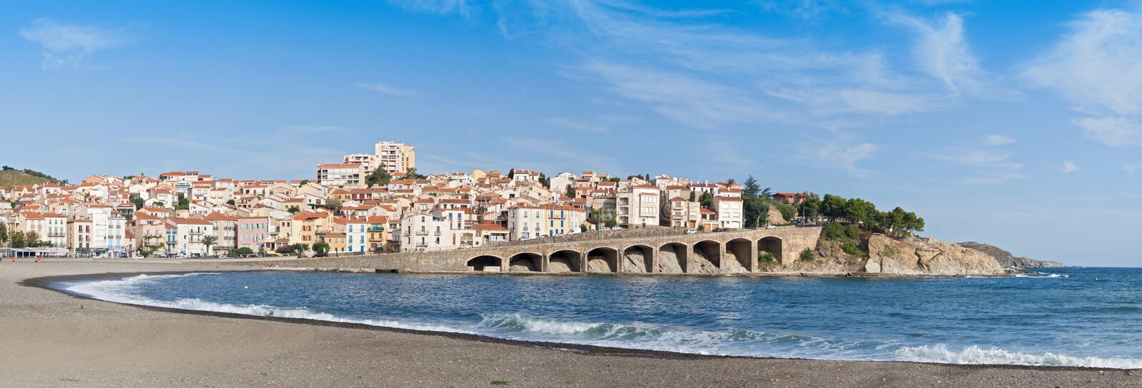 Panorama of the commune Banyuls-sur-Mer, France. Panorama of the french commune Banyuls-sur-Mer royalty free stock photography