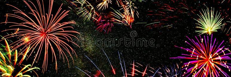 Panorama composite Fireworks pour les vacances images libres de droits