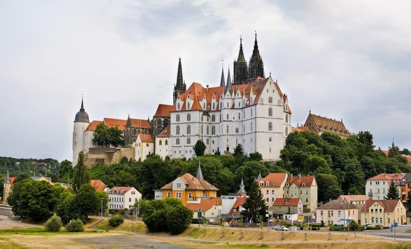 Panorama con Albrechtsburg in Meissen fotografie stock
