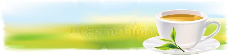 Panorama con la taza de té y de una hoja verde natural. ilustración del vector