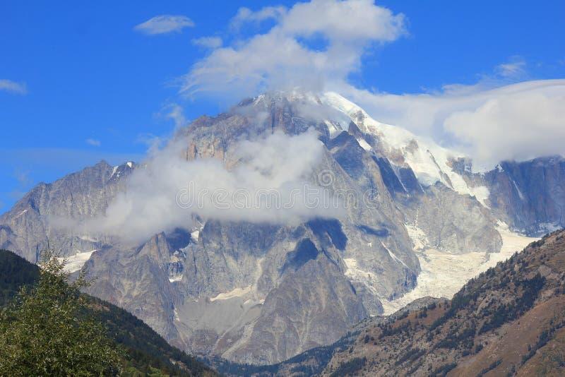 Panorama con Mont Blanc fotografia stock libera da diritti
