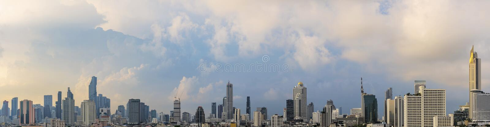 Panorama concept, High-rise and large urban buildings in Bangkok stock images