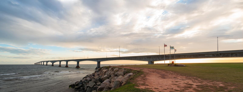 Panorama of Confederation Bridge. Linking Prince Edward Island with mainland New Brunswick. As viewed from the Prince Edward Island side royalty free stock photos