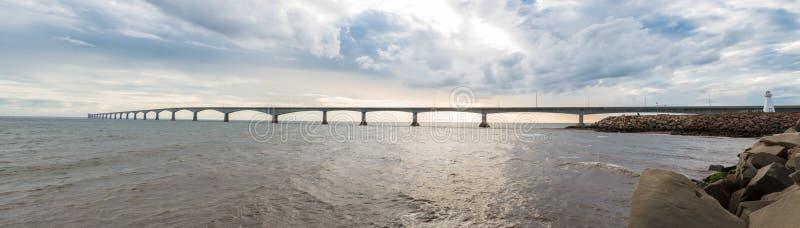 Panorama of Confederation Bridge. Linking Prince Edward Island with mainland New Brunswick. As viewed from the Prince Edward Island side royalty free stock photo
