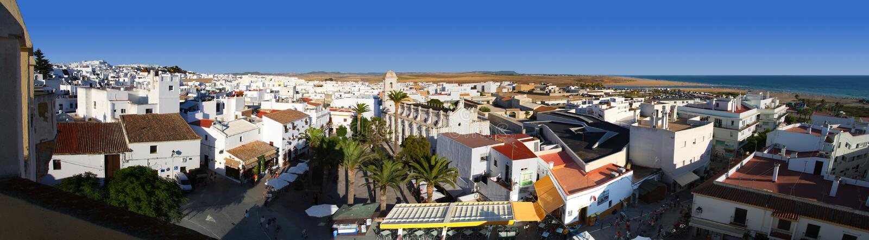 Panorama of conil de la frontera. On the Costa de la Luz, Andalusia Spain stock photo