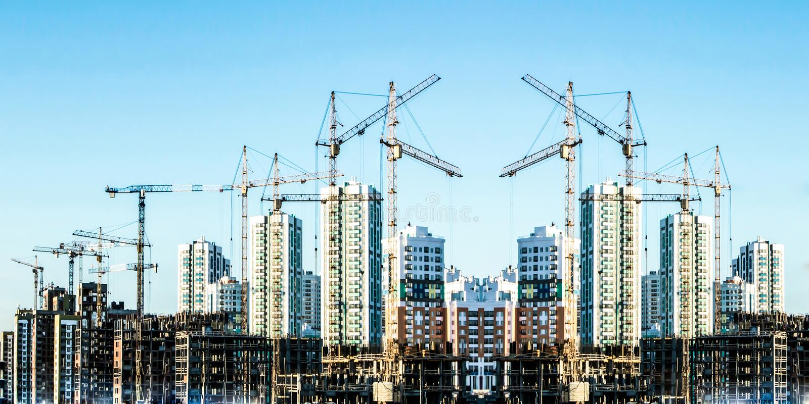 Panorama of the construction of modern residential district . Collage stock image