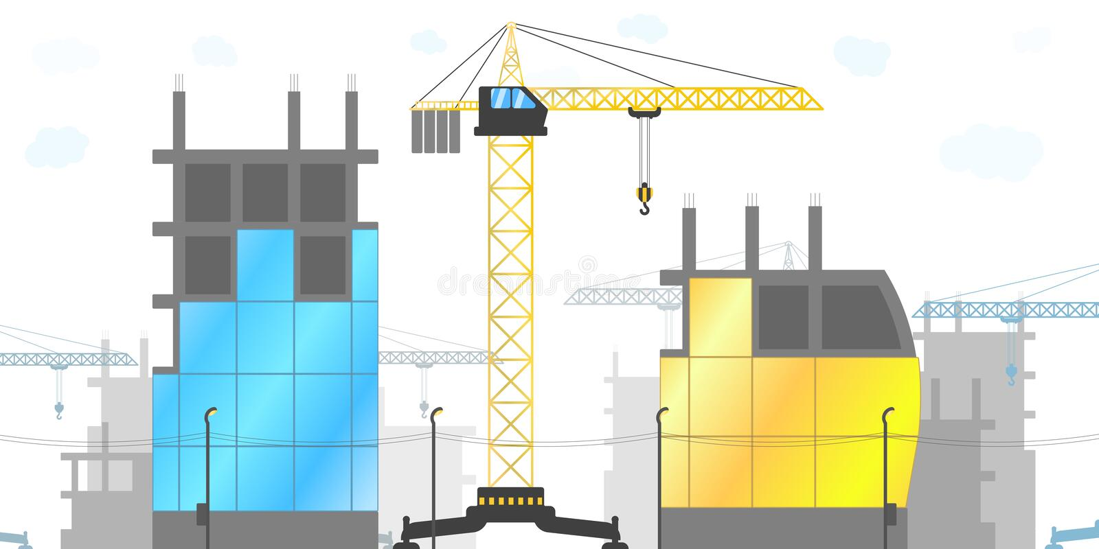 Panorama of the construction site with tower cranes and various buildings under construction. Vector illustration of the. Construction of houses royalty free illustration