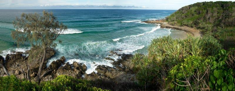 Panorama Coolum Australien des Strand-14x36-inch lizenzfreie stockfotos