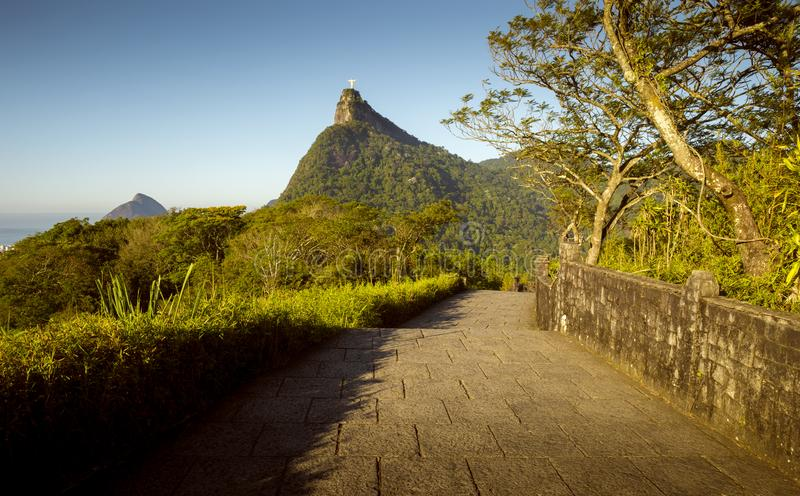 Panorama of Corcovado mountain in Rio de Janeiro, Brazil. Panorama of Tijuca forest and Corcovado mountain in Rio de Janeiro city, Brazil stock photo