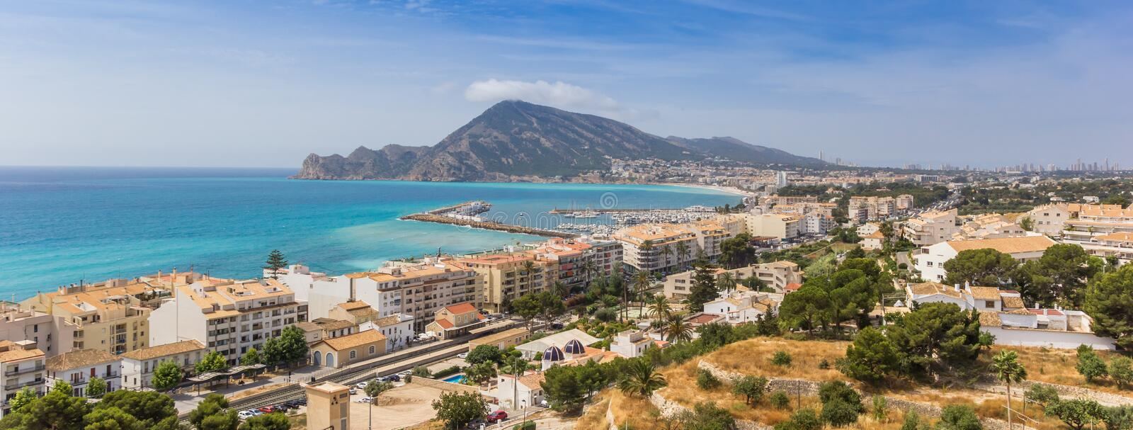 Panorama of the Costa Blanca from the overlook point in Altea. Spain royalty free stock photos