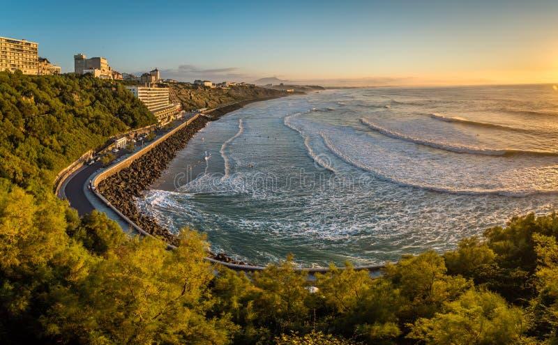 Panorama Cote des baskowie w Biarritz przy zmierzchem obrazy royalty free