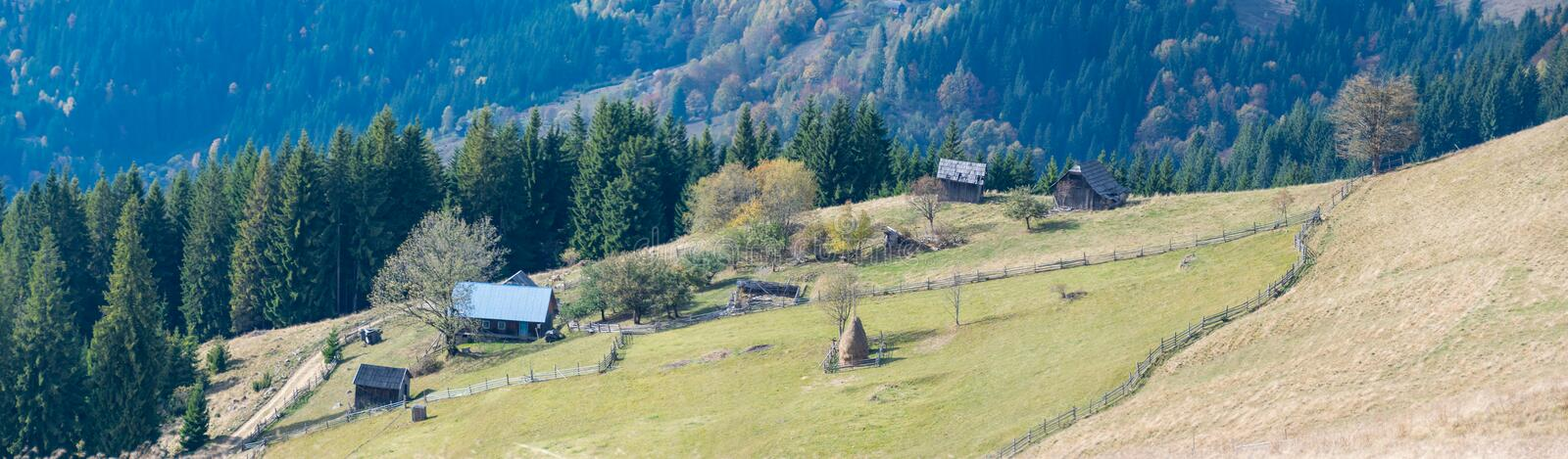 Panorama of country farm in the mountains of Ukraine royalty free stock images