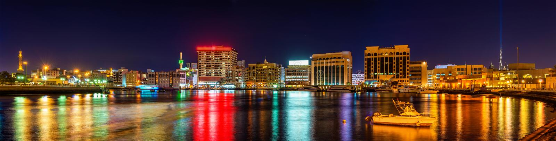 Panorama of Creek district in Dubai stock images