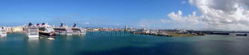 Panorama Cruiseport San Juan - Puerto Rico arkivbild