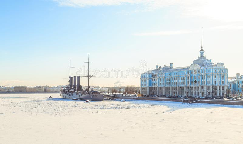 Panorama of the cruiser Aurora in St. Petersburg in winter royalty free stock photography