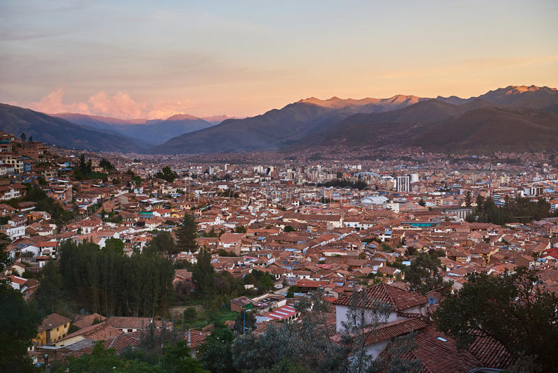 Panorama of Cusco city royalty free stock images