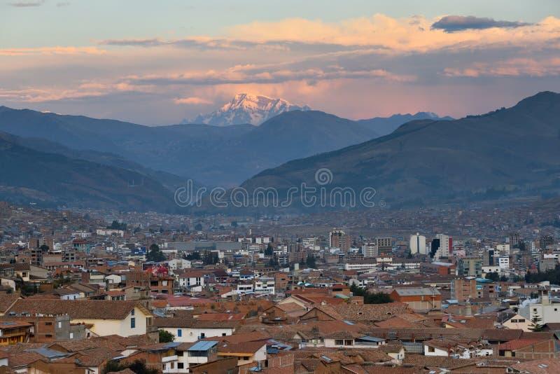 Panorama of Cusco at sunset, Peru royalty free stock photos
