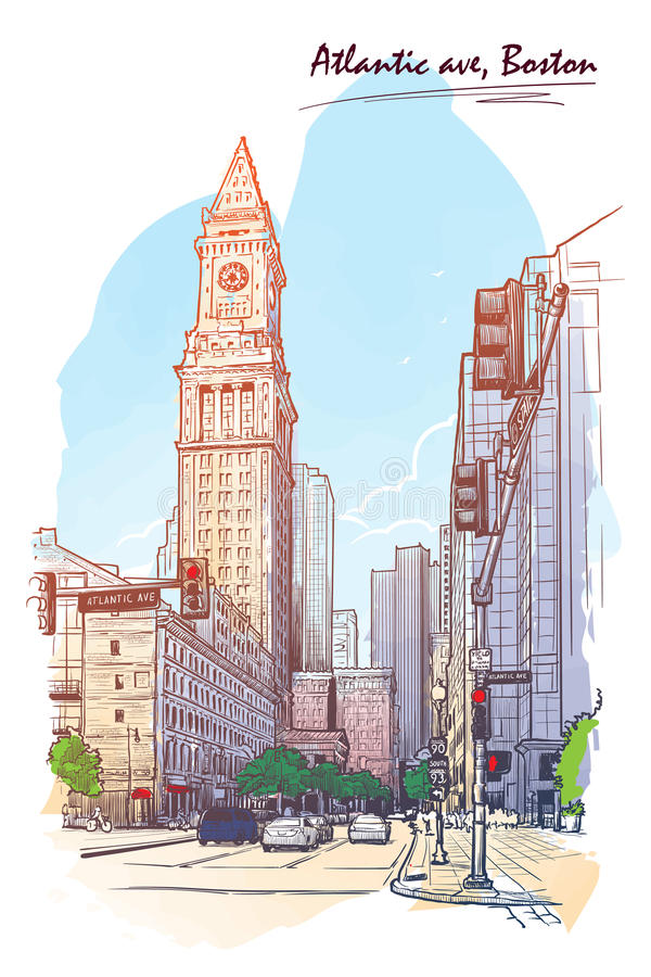 Panorama of the Custom House Tower. Painted sketch isolated on white background. EPS10 vector illustration. royalty free illustration