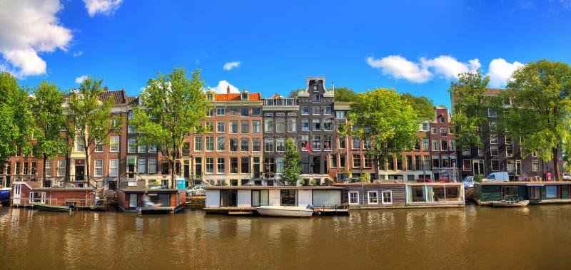 Panorama d'été d'Amsterdam image libre de droits