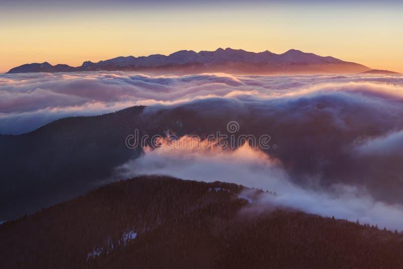 Panorama d'altezza della catena montuosa di Tatras di inverno con molti picchi e chiaro cielo Giorno soleggiato sopra le montagne immagini stock libere da diritti