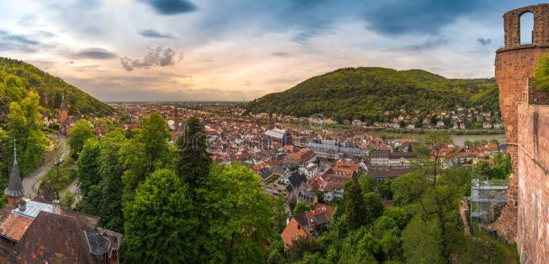 Panorama d'Heidelberg de coucher du soleil images stock