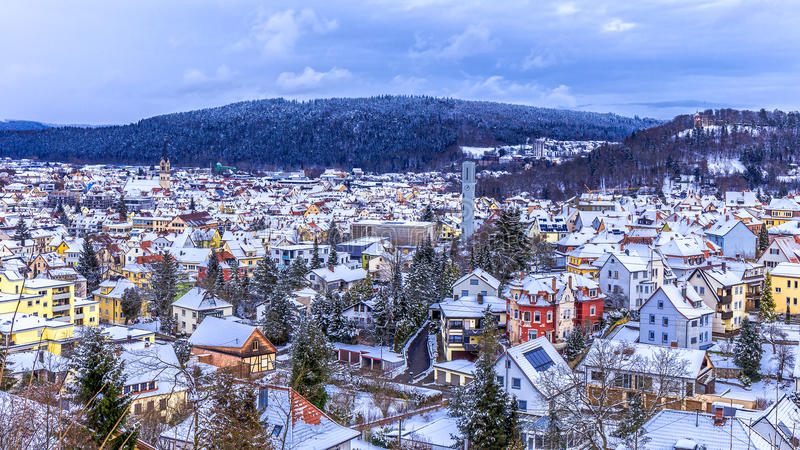 Panorama d'hiver de Tuttlingen image stock