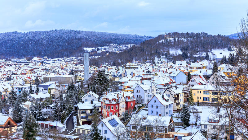 Panorama d'hiver de Tuttlingen images libres de droits