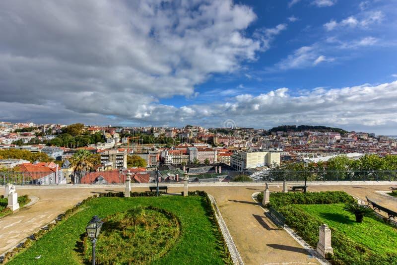 Panorama d'horizon de Lisbonne photographie stock