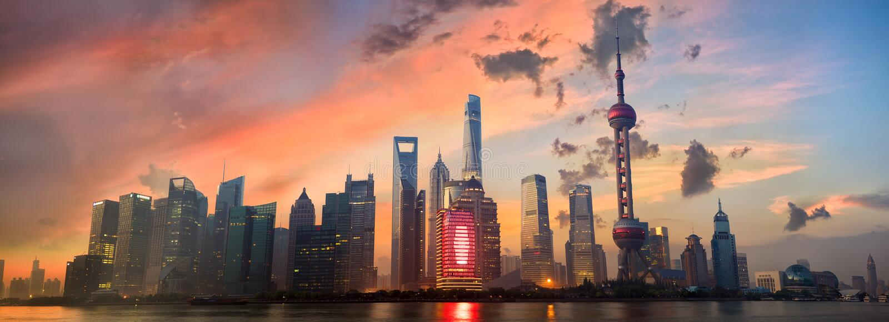 Panorama d'horizon de Shanghai Pudong photographie stock libre de droits