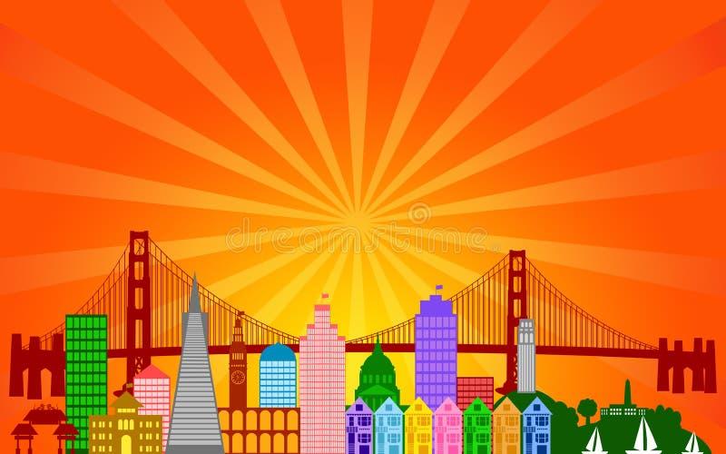 Panorama d'horizon de ville de San Francisco illustration de vecteur