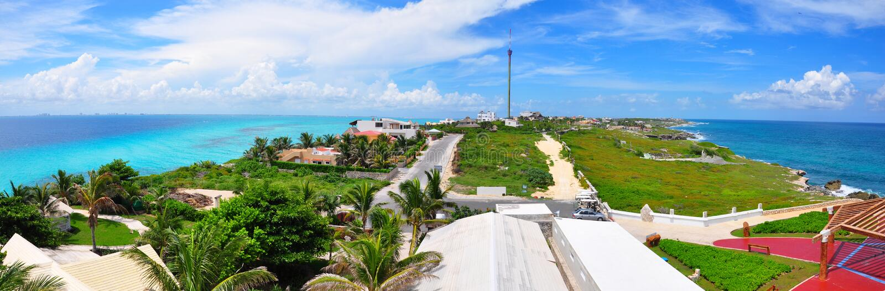 Panorama d'Isla Mujeres, Mexique photos stock