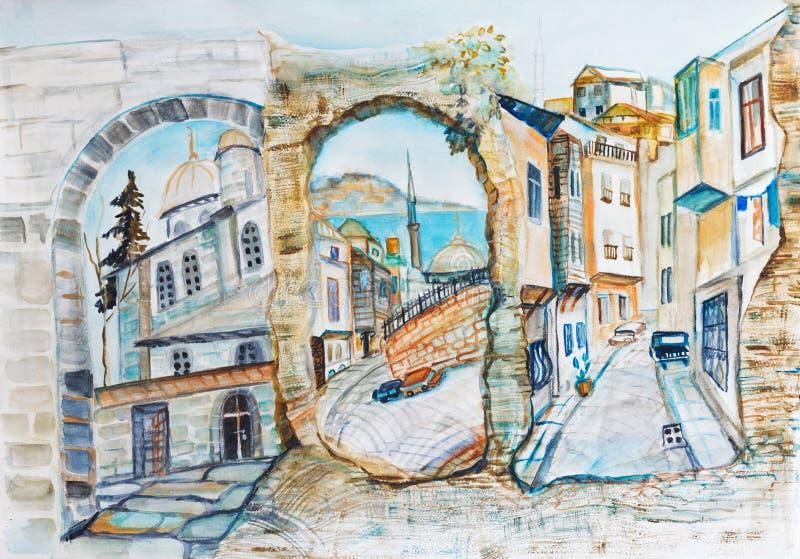 Panorama d'Istambul illustration stock