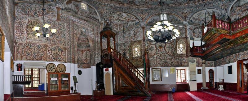 Panorama, dôme intérieur de mosquée d'Ethem Bey, Tirana photo libre de droits