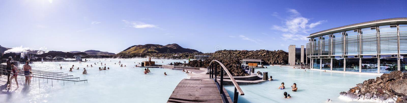 Panorama d'une des attractions en Islande Lagune bleue 11 06,2017 photos libres de droits