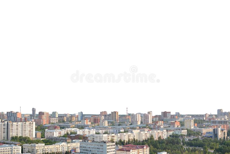 Panorama d'une ville provinciale sur un fond blanc images stock