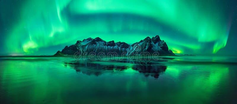 Panorama da Aurora de Stokksnes foto de stock royalty free