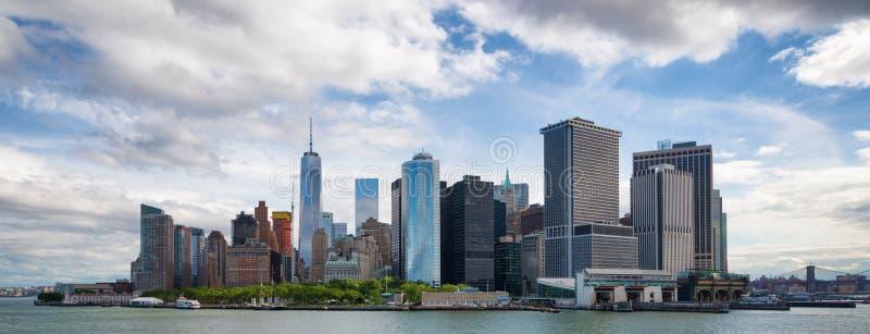 Panorama da baixa de New York City Manhattan imagem de stock