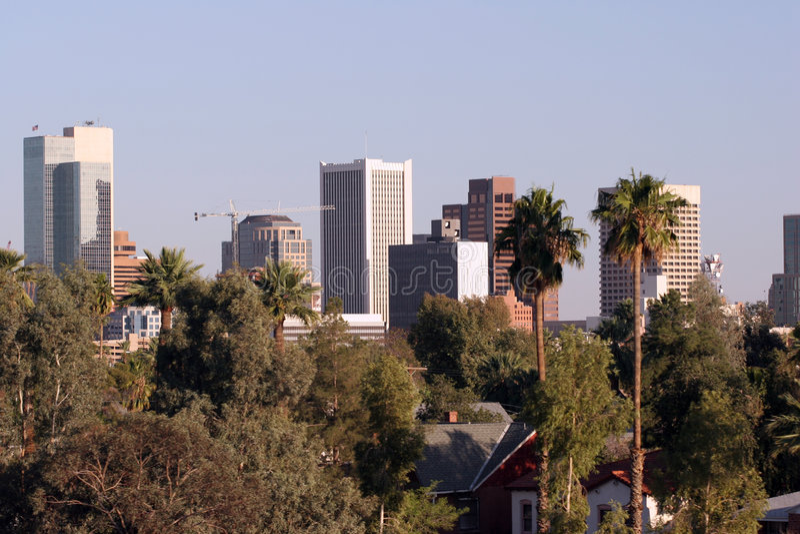 Panorama da baixa de Phoenix fotografia de stock