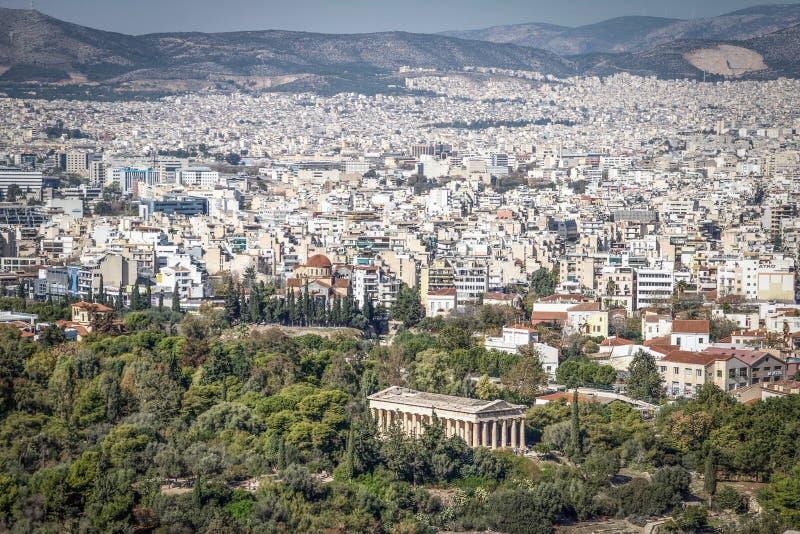Panorama da capital de Grécia, Atenas imagens de stock