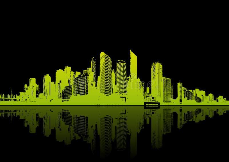 Panorama da cidade com reflexão. ilustração do vetor