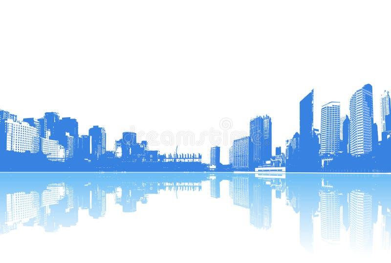 Panorama da cidade com reflexão. Vetor ilustração stock