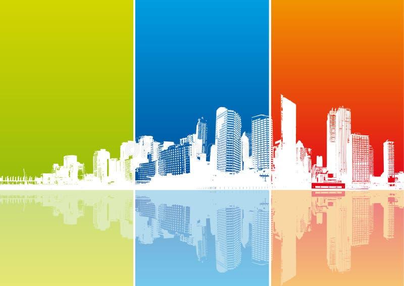 Panorama da cidade com tiras coloridas. Vetor ilustração do vetor