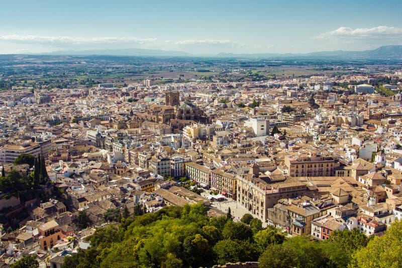 Panorama da cidade de Granada, Espanha imagem de stock