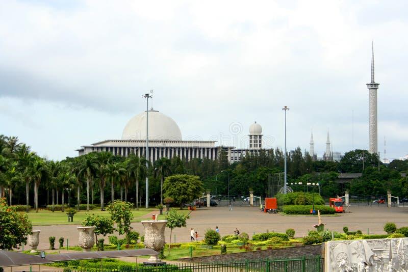 Panorama da cidade de Jakarta indonésia imagens de stock royalty free