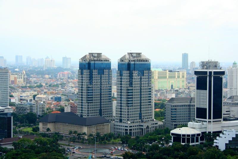 Panorama da cidade de Jakarta indonésia fotos de stock