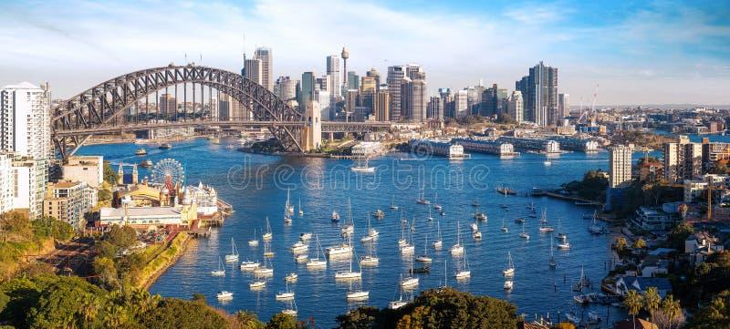Panorama da cidade de Sydney, arquitetura da cidade de Novo Gales do Sul imagens de stock