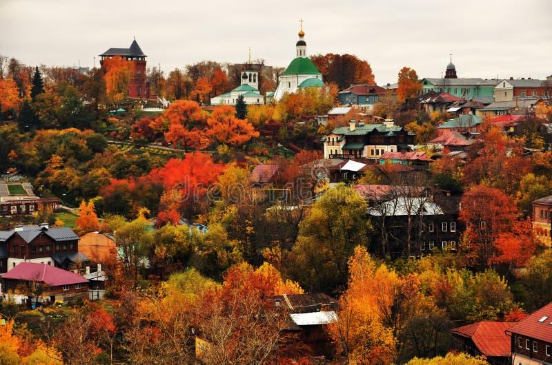 Panorama da cidade de Vladimir, Rússia Natureza do outono fotos de stock royalty free