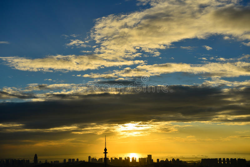 Panorama da cidade em qingdao fotografia de stock royalty free